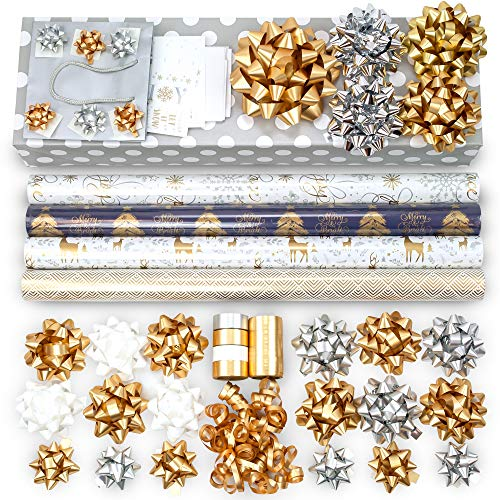 Gold + Silver + Blue Designer Wrapping Paper Set: 4 Rolls (7 Designs) of Premium Gift Wrap (80 sq. ft.) with 30 Coordinated Bows, 5 Ribbons, and 24 Gift Tags with Bonus Euro Tote and Tissue Paper