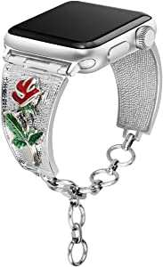 [Rose Version] Somoder Bling Bands Compatible with Apple Watch Band 42mm 44mm, Vintage Chain Jewelry Cuff Bracelet Replacement for Iwatch Series 4/3/2/1, Sport Edition, Nike+