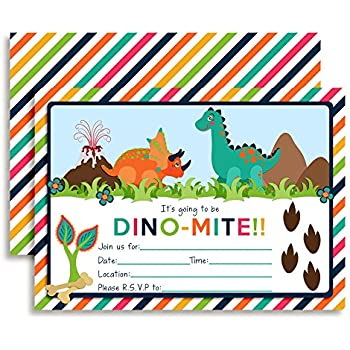 Amazon colorful dinosaur birthday party invitations ten 5x7 colorful dinosaur birthday party invitations ten 5x7 fill in cards with 10 filmwisefo