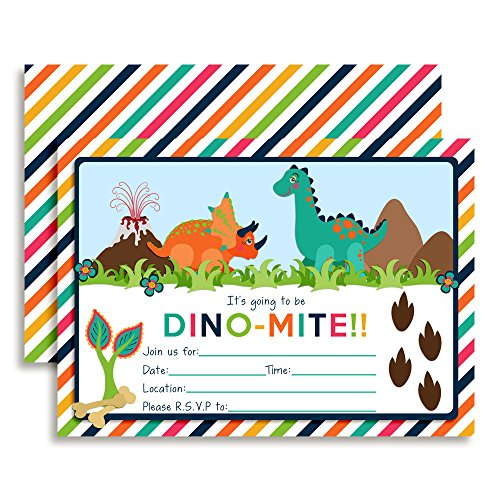 Colorful Dinosaur Birthday Party Invitations, 20 5