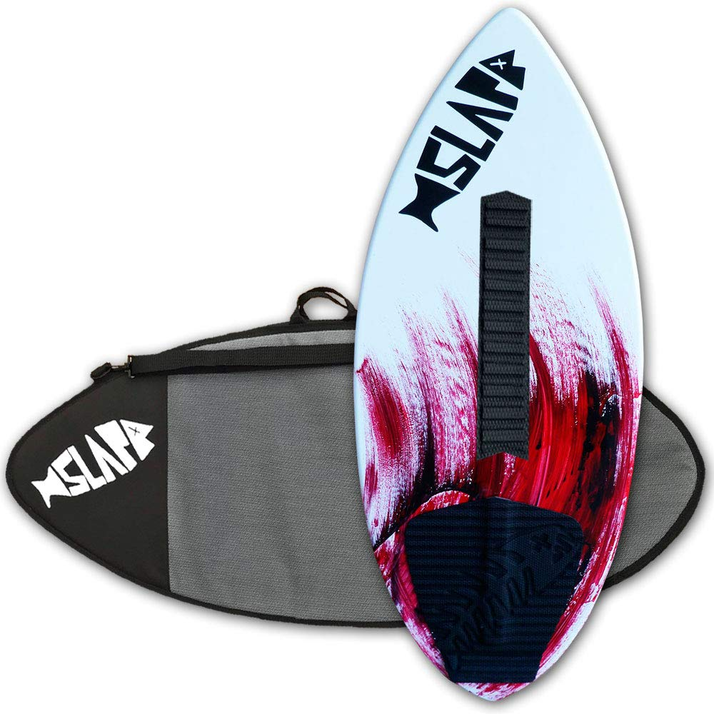 Slapfish Skimboards - Fiberglass & Carbon with Traction Deck Grip - Kids & Adults - 2 Sizes - Red (48'' Board with Arch Bar & Bag) by Slapfish