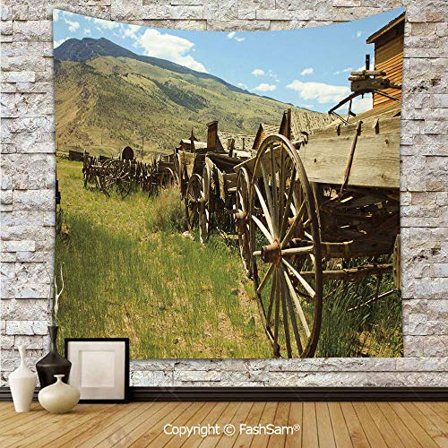 Polyester Tapestry Wall Line of Antique Carriages in