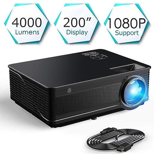 Proyector de Video 4000 lúmenes Admite Full HD 1080P HDMI/VGA/AV ...