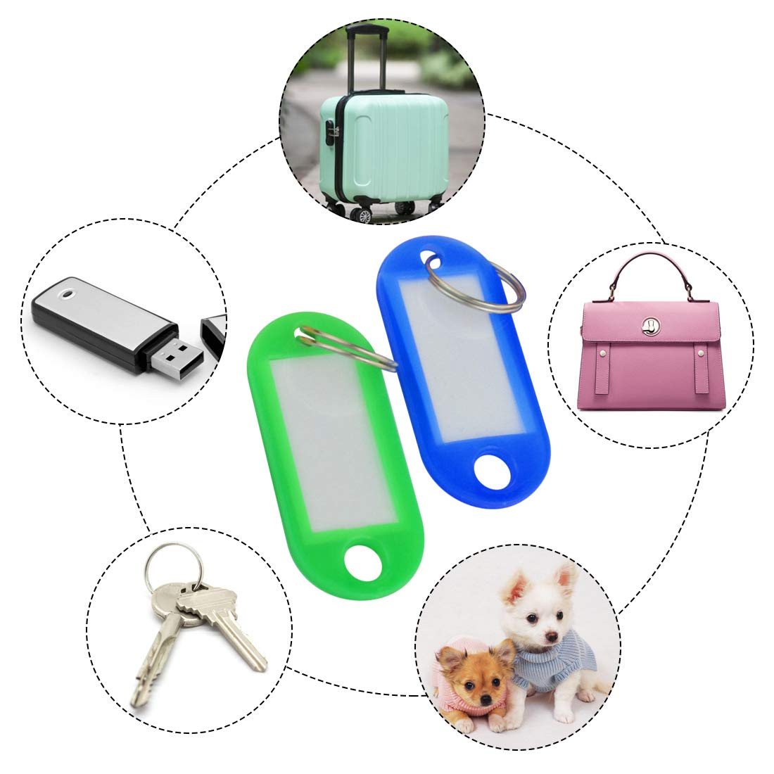 Yolyoo 100 Pack Tough Plastic Key Tags with Label Window 10 Colors
