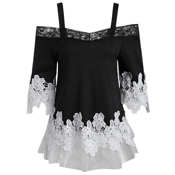 Longra 2018 Forme a mujeres el hombro abierto apliques florales malla de malla camiseta Camis blusa