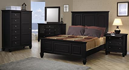4pc King Size Bedroom Set Cape Cod Style in Black Finish