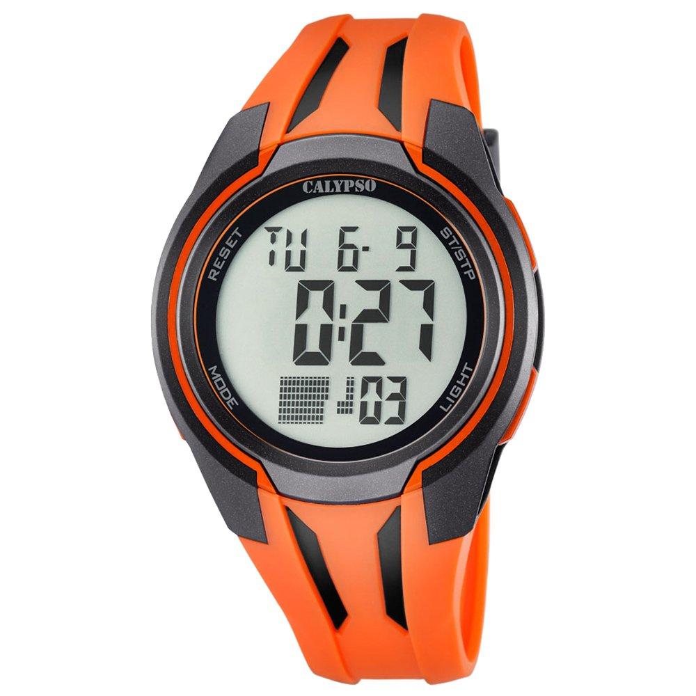 Calypso hombre-reloj deporte digital PU-pulsera Cuarzo-reloj esfera naranja Naranja UK5703/1