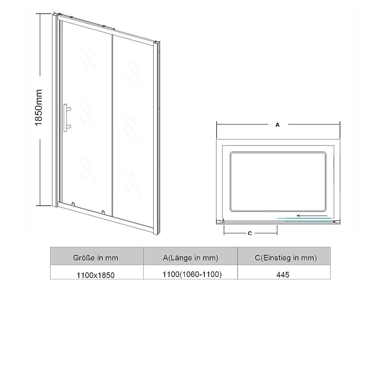 160x185cm Schiebet/ür Dusche 6mm ESG Klarglas Duschwand