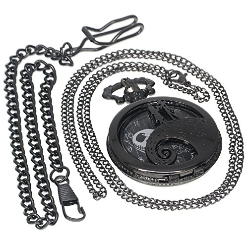 Nightmare Before Christmas Watch - Nightmare Before Christmas Tungsten Black Steampunk Pocket Watch Necklace Antique Men Women Pocket Watches Chain Vintage Quartz Clock Fob Watch 1 PC Necklace 1 PC Clip Key Rib Chain