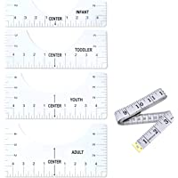 4 Pack T-Shirt Alignment Ruler Tool, T-Shirt Ruler Guide with Size Chart for Making Fashion Center Design, Suitable for…