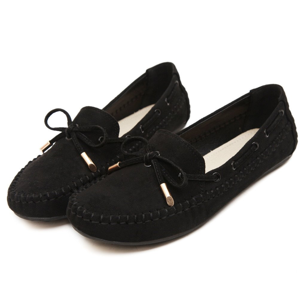 Ruiatoo Women\'s Slip on Flat Loafer Driving Suede Casual Boat Shoes Black 40