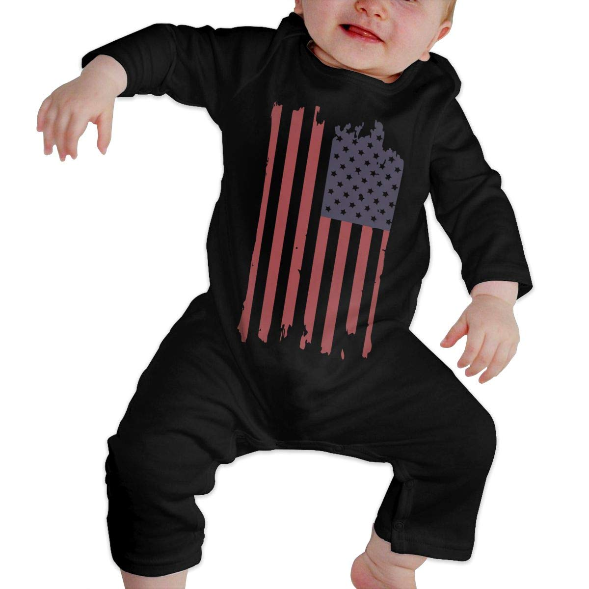 LBJQ8 USA Flag Baby Infant Girls Organic Cotton Bodysuit Romper Jumpsuit