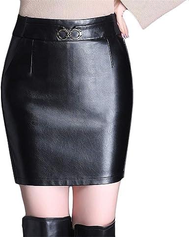 Xiuy Mini Cuero Falda Slim Elasticos Negro Línea Ajustada Sexy ...
