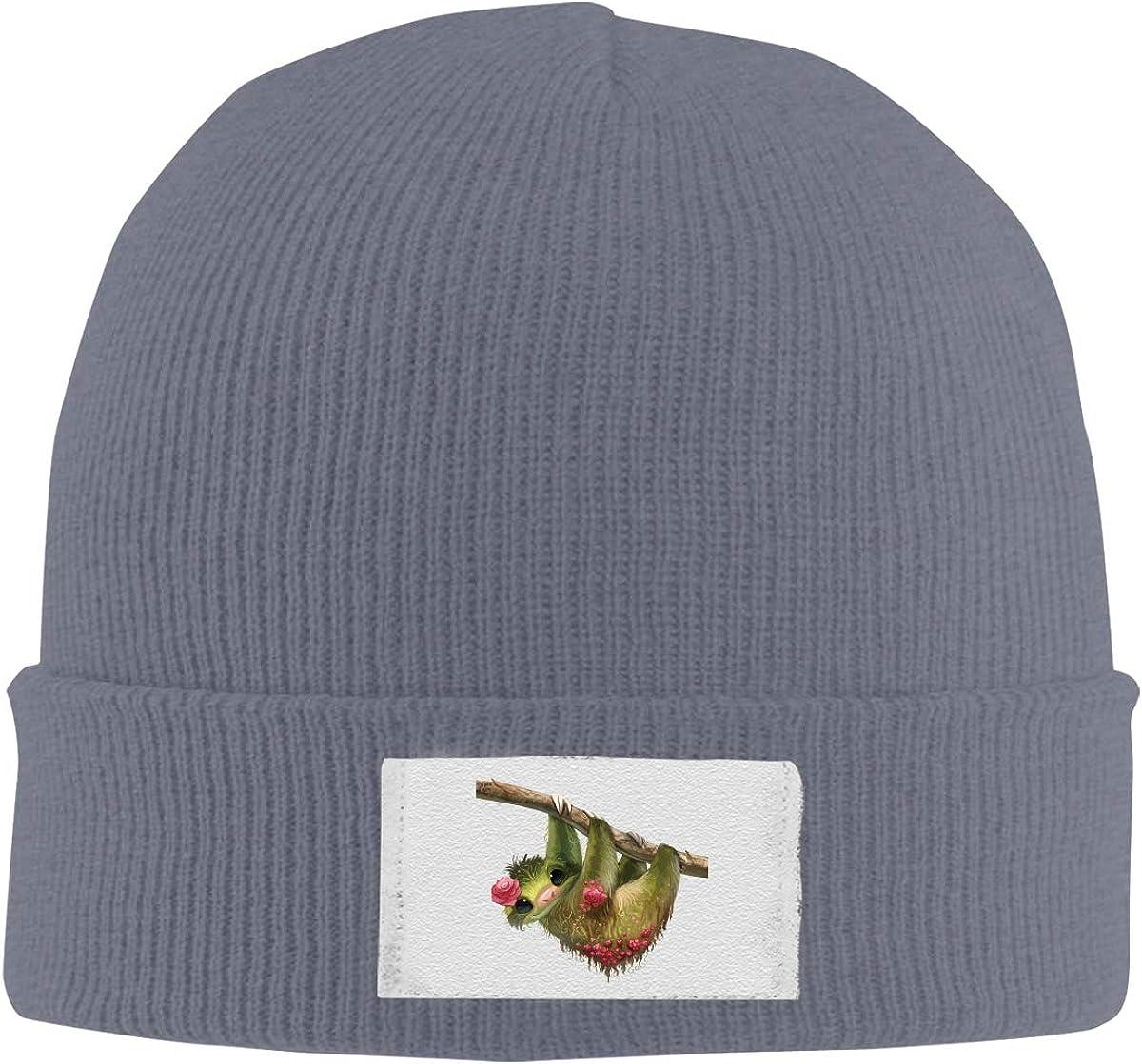Dunpaiaa Skull Caps Elegant Sloth Winter Warm Knit Hats Stretchy Cuff Beanie Hat Black