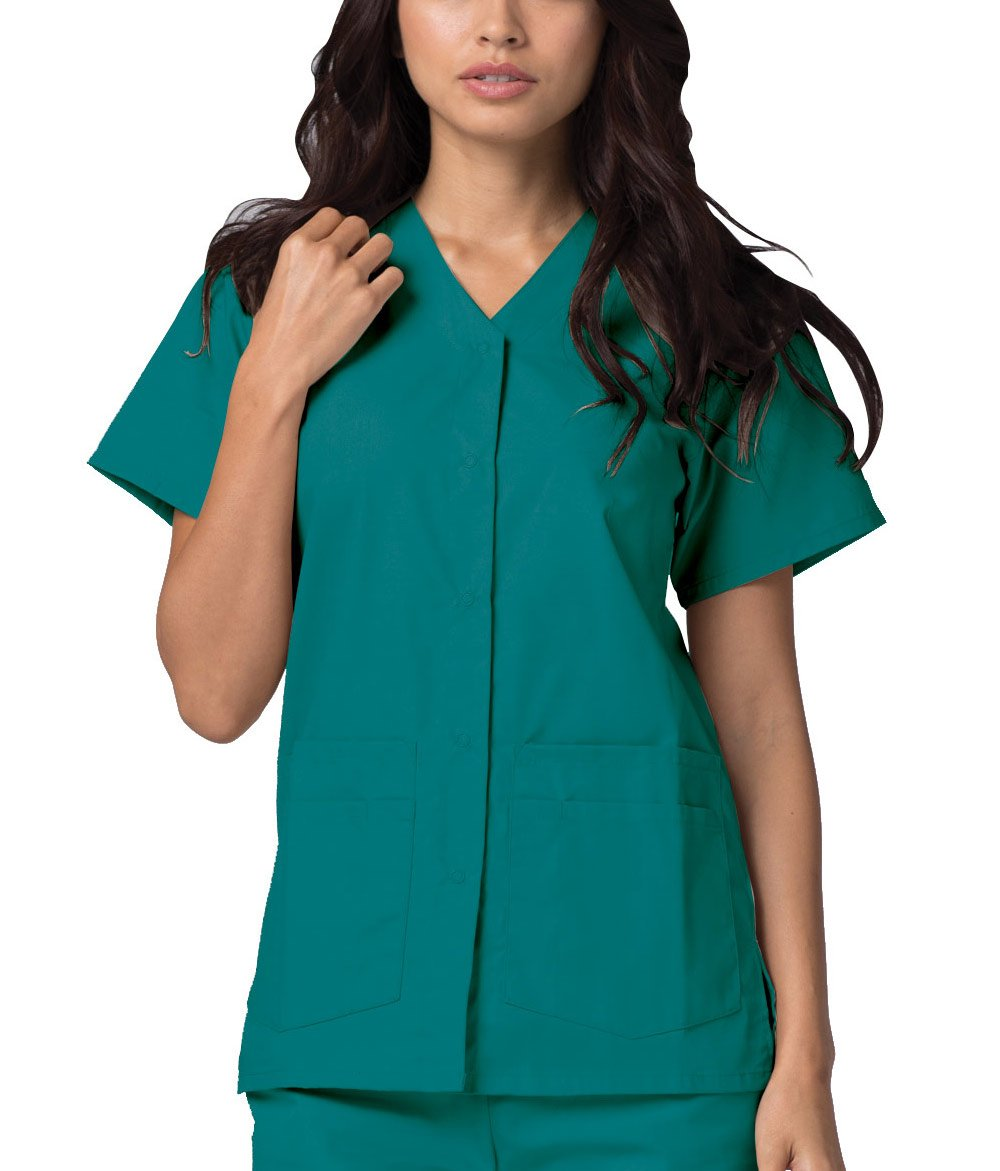 6b30b291044 Adar Universal Double Pocket Snap Front Top (Available in 39 Colors) - 604  - Teal Blue - 4X