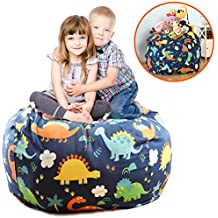 EXTRA LARGE Stuffed Animals Bean Bag Chair Cover-100% Cotton Canvas Kids Toy Storage Zipper Bags, Stuff N Sit Comfy Pouf For Unisex Boys Girls Toddlar, Dinosaur Print