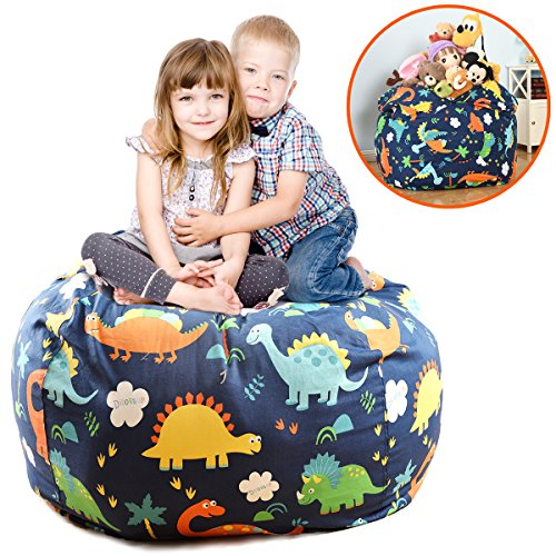 EXTRA LARGE 38'' Stuffed Animals Bean Bag Chair Cover-100% Cotton Canvas Kids Toy Storage Zipper Bags Comfy Pouf For Unisex Boys Girls Toddlar, Dinosaur Print Dinosaur Room Decor