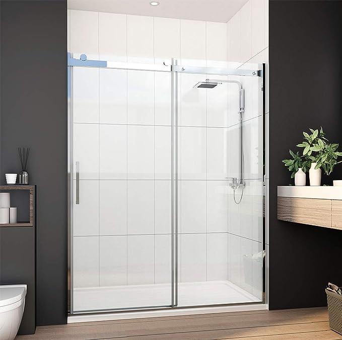 Meykoe Puerta de ducha corredera sin marco, 1/3 pulgadas, vidrio ...