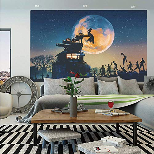(SoSung Fantasy World Huge Photo Wall Mural,Dead Queen in Castle Zombies in Cemetery Love Affair Bridal Halloween Theme,Self-Adhesive Large Wallpaper for Home Decor 108x152 inches,Blue)