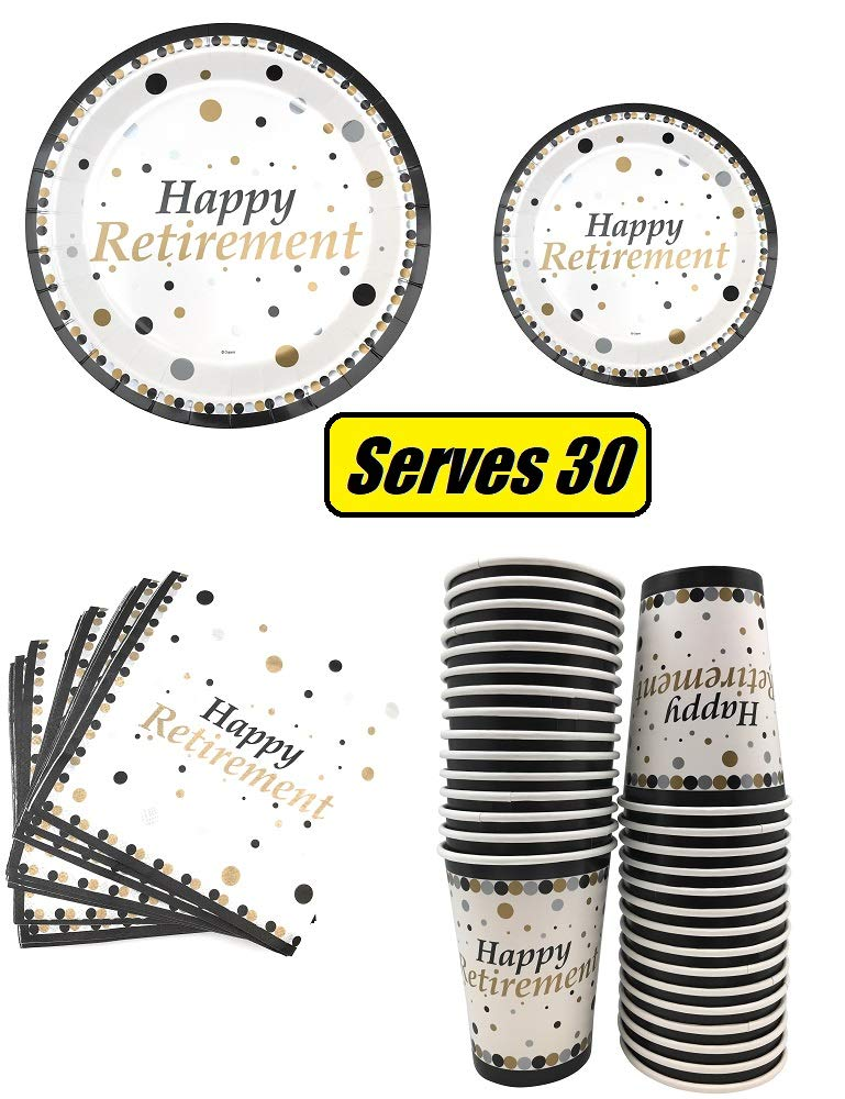 Serves 30 Happy Retirement Complete Party Pack 9'' Dinner Paper Plates 7'' Dessert Paper Plates 12 oz Cups 3 Ply Napkins Happy Retirement Party Theme by Oojami