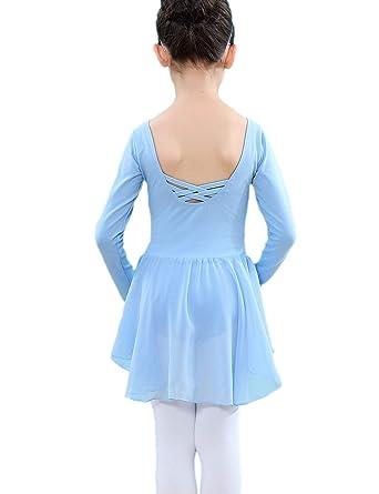 e5891561b90fc Kidsmian Little Girls Chiffon Long Sleeve Dance Ballet Dress Leotard with  Irregular Skirt