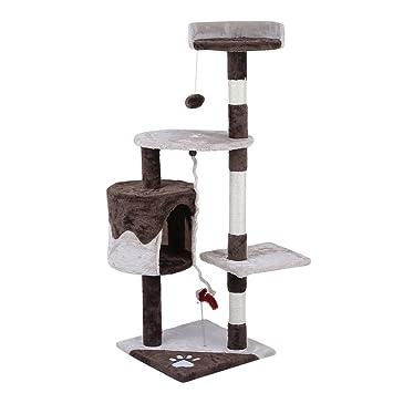 Feketten rascador Gato árbol, 112 cm Cat Tree rascador para Gatos con caseta para Perro, Color Marrón: Amazon.es: Productos para mascotas