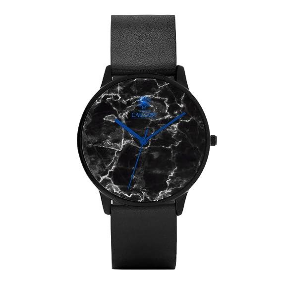 Relojes Calgary Blue Marble - Reloj con correa de piel negra, esfera con estampado de