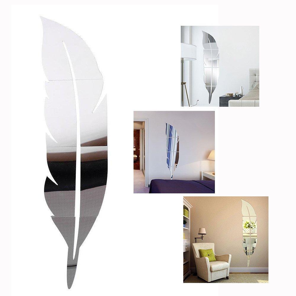 Gearmax DIY 3D Stickers Muraux Miroir en Forme de Plume, Autocollants en Acrylique Amovible pour Chambre Salon
