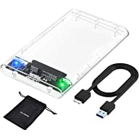 ELUTENG 2.5'' Carcasa Disco Duro USB 3.0 con UASP SATA III, Transparente Caja de Disco Duro Externo para 7mm/9.5 mm 2TB MAX, Estuche de Disco Duro con 30CM Cable Extraíble Clear HDD SSD Case