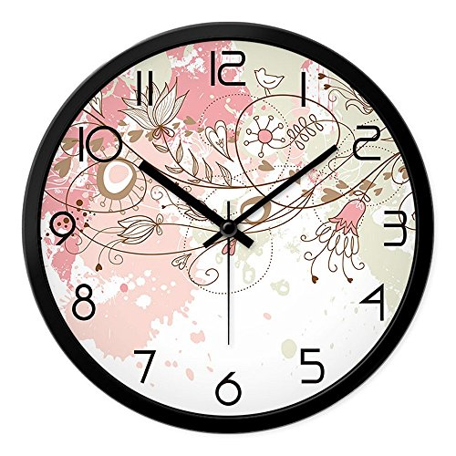 LauderHome 12-Inch Non-Ticking Silent Wall Clock with Modern and Nice Design for Living Room Large Kitchen Wall Clock Battery Operated (Cherry (Blossom Display Clock)