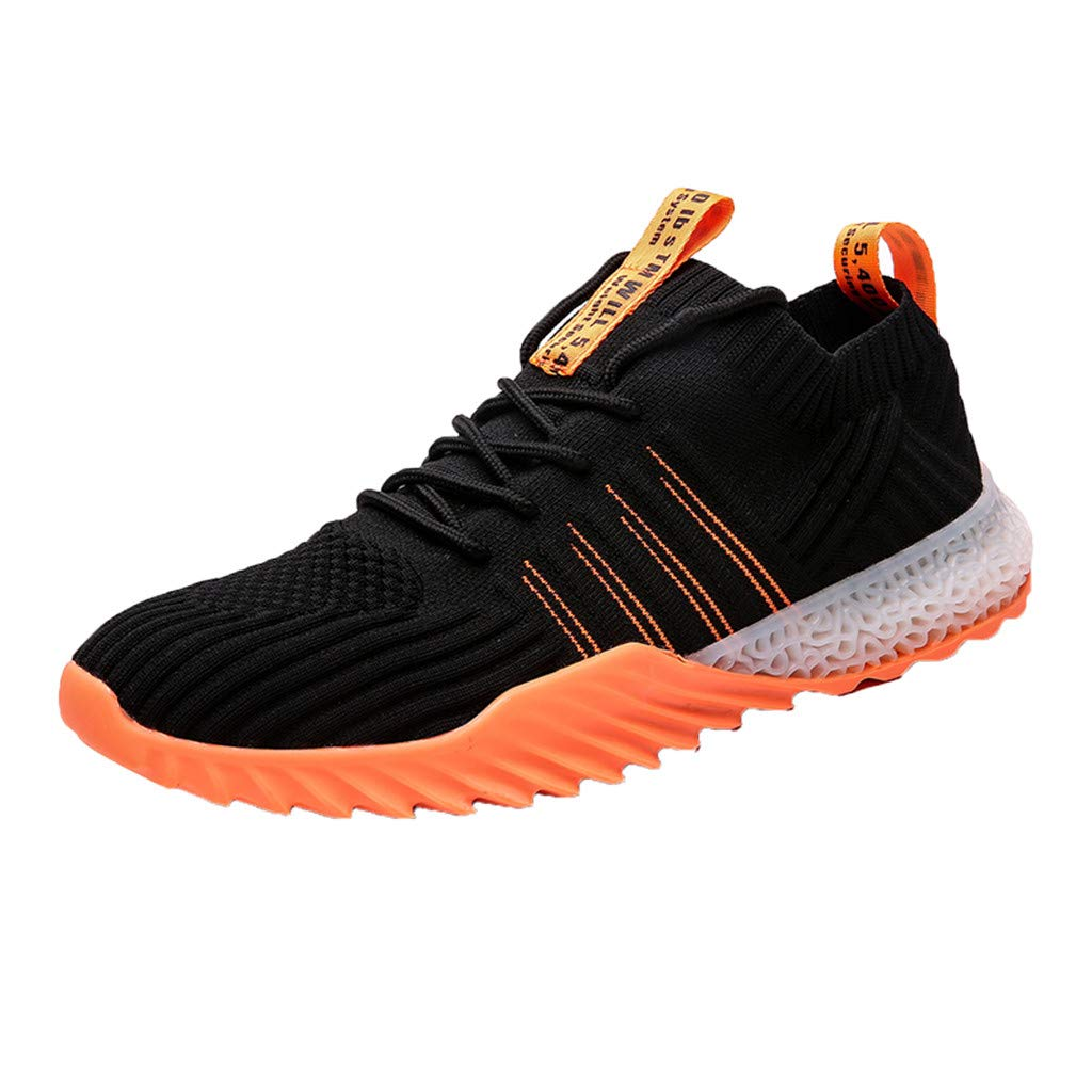 Men Sneakers Fashion Athletic Lightweight Walking Running Tennis Jogging Shoes (US:7.5, Orange) by Suoxo Men Shoes