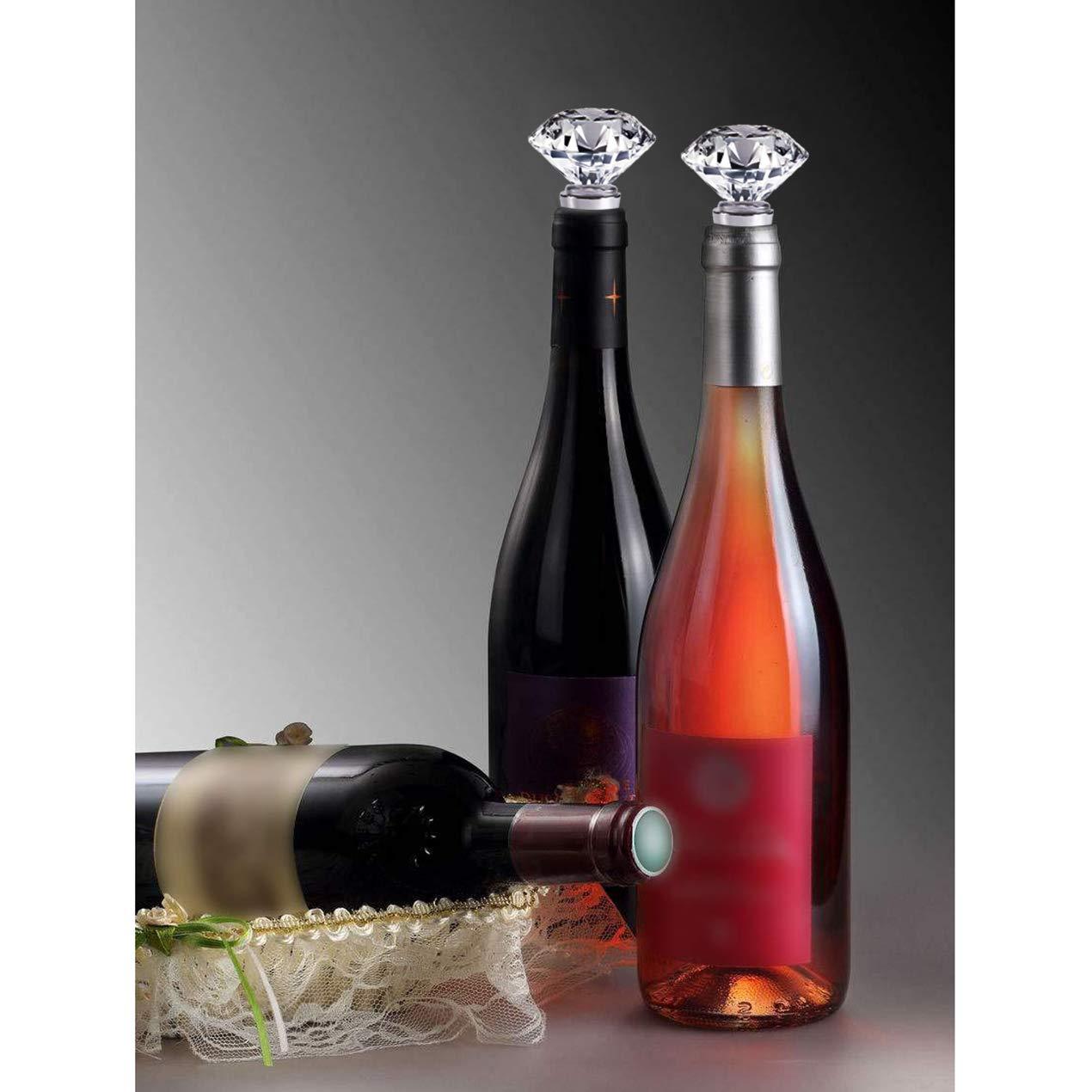 Giriaitus Bouchon de vin en cristal d/écoratif en m/étal avec bo/îte cadeau cadeau de mariage en diamant Bouchon de bouteille de vin avec bo/îte cadeau Bouchon r/éutilisable
