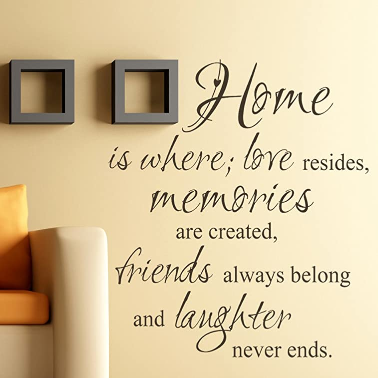 Home Where Love Resides, Memories Are Created - Wall Decal Saying Vinyl Lettering Decoration Quote Sticker Art Mural Decor - 15 Colors 3 Sizes to Choose (Custom, Large)