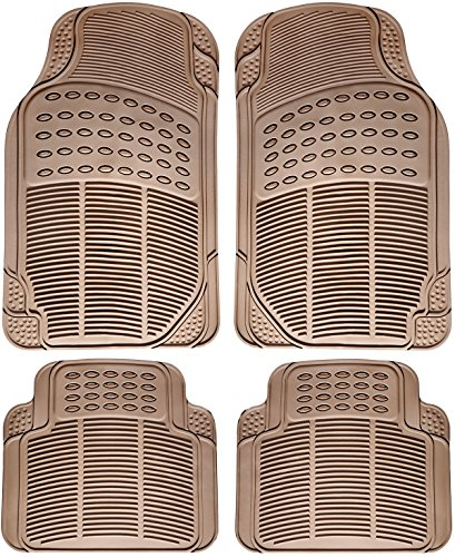Marketworldcup-Car Floor Mats for All Weather Rubber 4pc Set Semi Custom Fit Heavy Duty Beige
