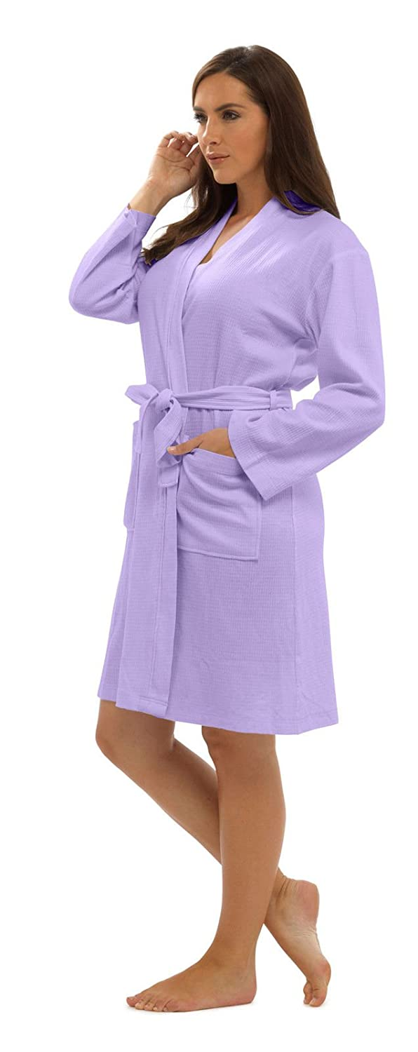 KATE MORGAN Ladies Cotton Waffle Robe/Dressing Gown