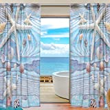 SEULIFE Window Sheer Curtain, Summer Sea Beach Starfish Seashell Voile Curtain Drapes for Door Kitchen Living Room Bedroom 55x78 inches 2 Panels