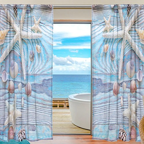 SEULIFE Window Sheer Curtain, Summer Sea Beach Starfish Seashell Voile Curtain Drapes for Door Kitchen Living Room Bedroom 55x78 inches 2 Panels by SEULIFE
