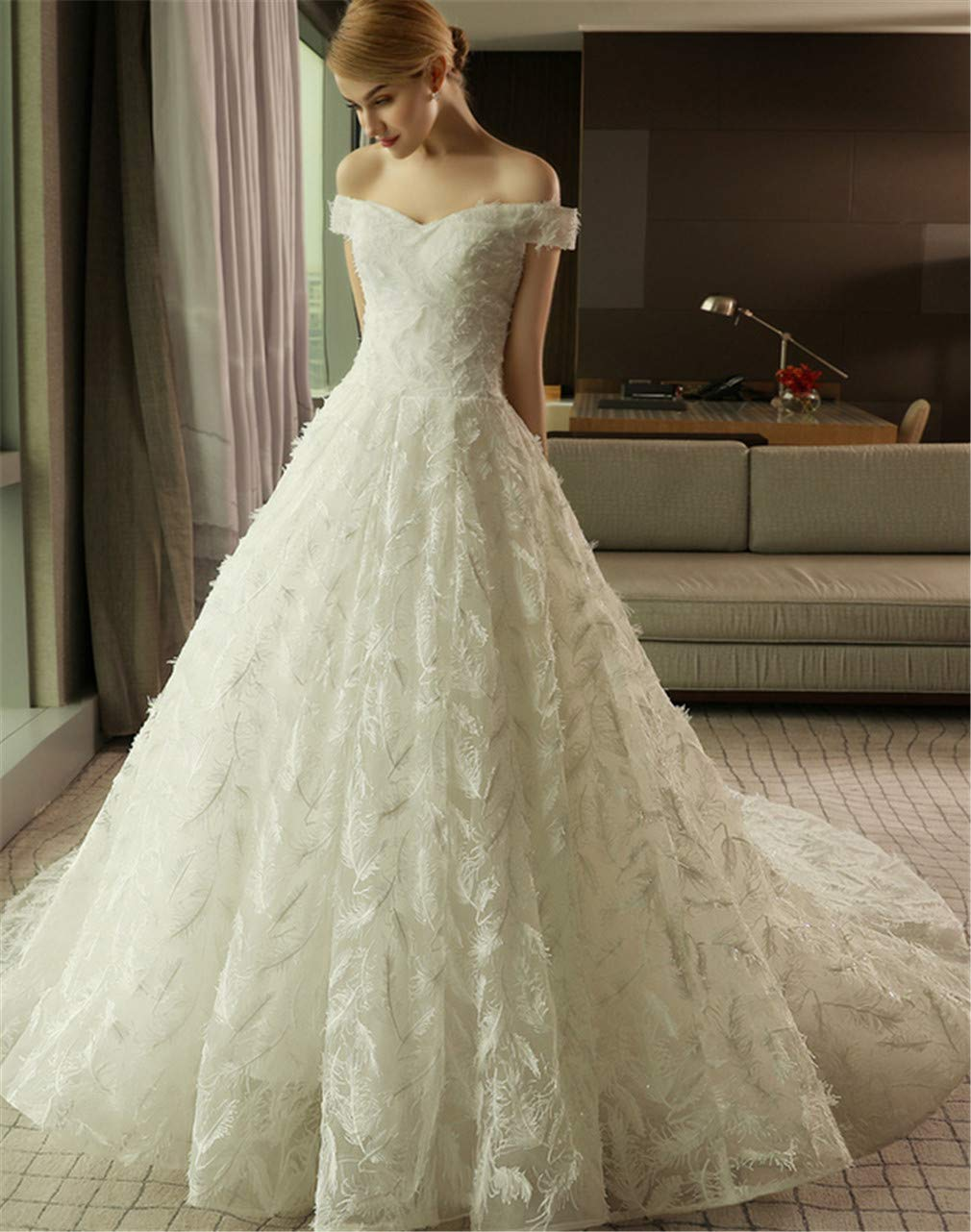 Wedding Dress, Europe and America Elegant Simple White VNeck Strapless Strap Feather Lace Slim Princess Church Dress
