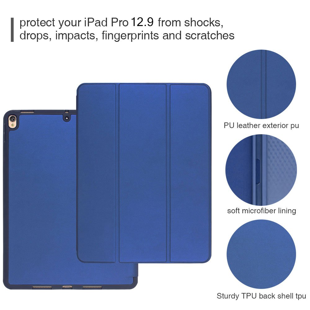 Case for ipad Pro 12.9 with Stand and Pencil Holder, PU Leather Smart Cover Magnetic Trifold Stand Auto Wake up/Sleep for ipad Pro 12.9 2017 2018(Blue) by Coralov (Image #9)