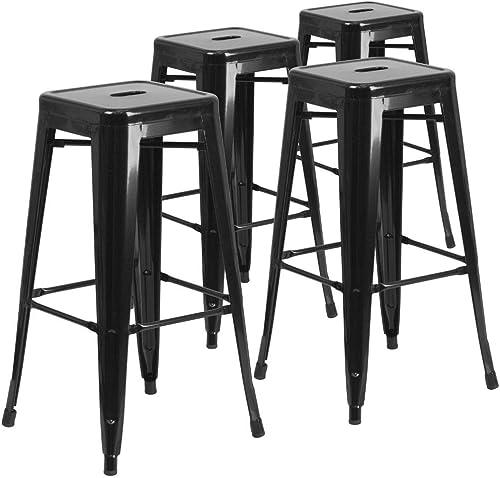 Flash Furniture 4 Pack Commercial Grade 30″ High Backless Black Metal Indoor-Outdoor Barstool