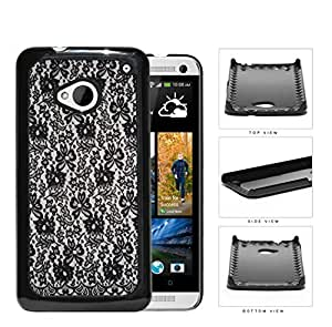 Girly Tight Black Lace Pattern Hard Plastic Snap On Cell Phone Case HTC One M7