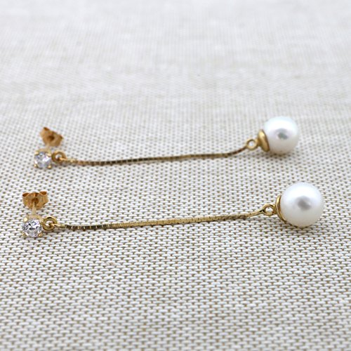 14k White Gold Cubic Zirconia Freshwater Cultured Pearl on Dangling Chain Earrings by Beauniq (Image #2)
