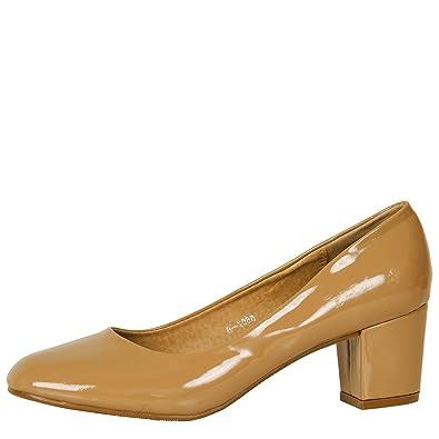 679cb655086 ByPublicDemand Yvonne Womens Mid Block Heel Slip On Smart Office Ladies  Patent Court Shoes Khaki Tan