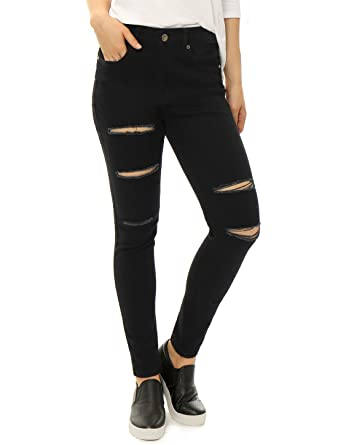 2f2cdaa5fbf Allegra K Women's Mid-Rise Stretchy Ripped Front Skinny Jeans at ...