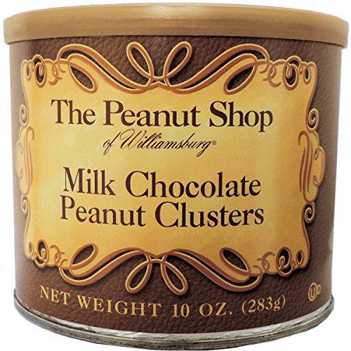 The Peanut Shop of Williamsburg Milk Chocolate Peanut Clusters - 10 oz. Tin (Virginia Chocolate)