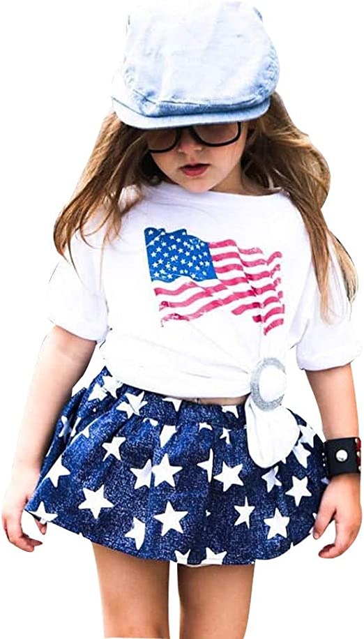 Dreamer P Little Girls 2 Pieces Tank Top Short Set Merica Sequin Patriotic Kids Outfit