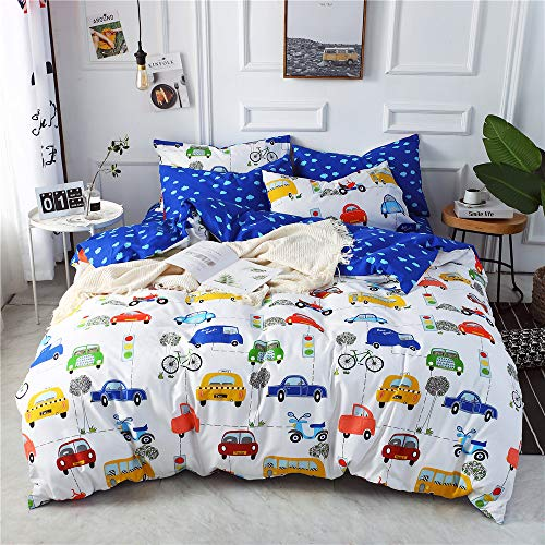 mixinni Sports Car Kids Duvet Cover Set, Various Types of Vehicles Bus Truck Garbage Truck Vibrant Colored Design 100% Soft Cotton Bedding Set, Great Gift for Girls Boys Teens(3pcs, Queen/Full Size)