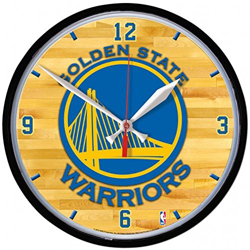 Wall State Clock Round (Golden State Warriors NBA Wall Clock, 12.75 inches round)