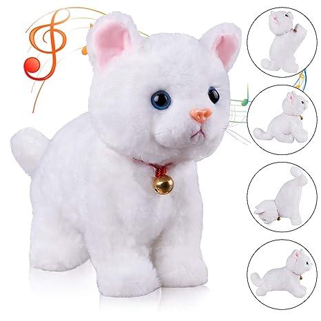 amazon com marsjoy white interactive cat plush animated walking pet