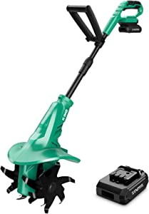 KIMO 7.8-Inch Cordless Electric Tiller Cultivator, 20V 280RPM Garden Tiller w/Telescoping Handle, 24 Steel Tines Max Tilling 7.8-Inch Width & 5-Inch Depth for Digging, Weed Removal & Soil Cultivation